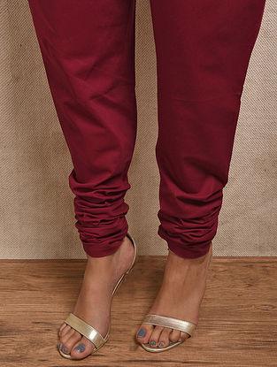 Red Elasticated-waist Cotton Churidar