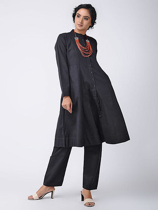Black Cotton Kurta with Pockets