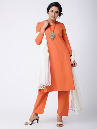 Orange Cotton Kurta