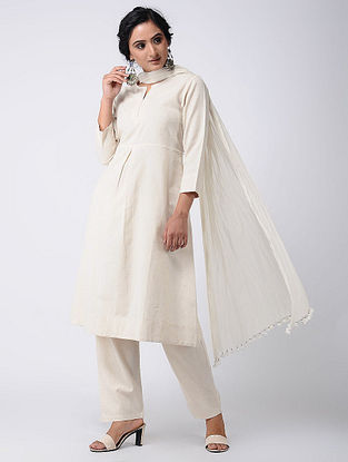 Ivory Cotton Kurta with Pockets
