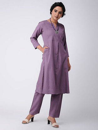 Purple Cotton Kurta with Pockets