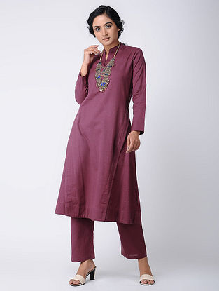 Wine Cotton Kurta
