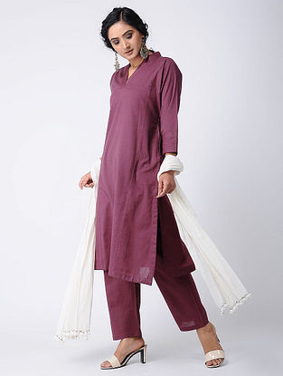 Wine Cotton Kurta with Pockets