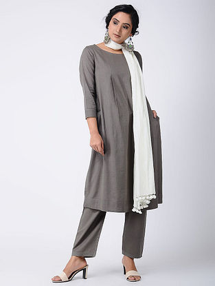 Grey Cotton Kurta with Pockets