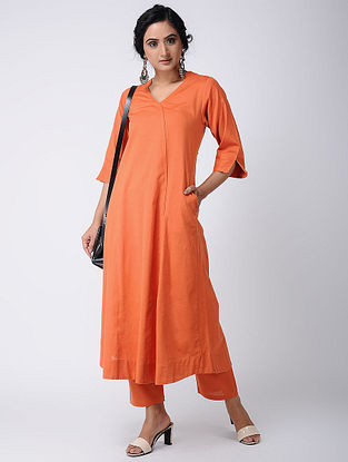 Orange Cotton Kurta with Pockets