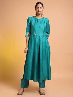 Green Embroidered Silk Cotton Kurta