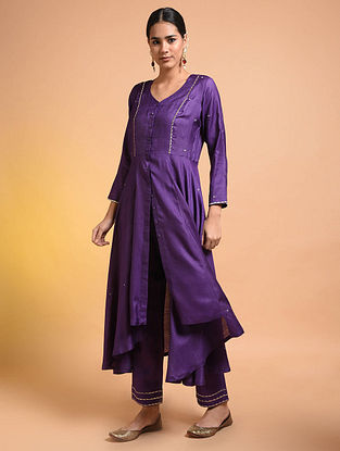Purple Embroidered Silk Cotton Kurta