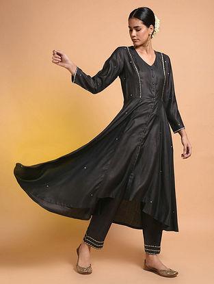 Black Embroidered Silk Cotton Kurta