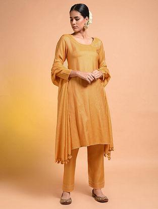 Yellow Embroidered Silk Cotton Kurta