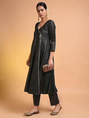 Black Embroidered Silk Cotton Kurta