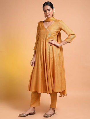 Yellow Embroidered Silk Cotton Kurta