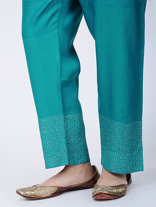 Green Embroidered Tie-up Waist Silk Cotton Pants