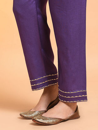 Purple Embroidered Tie-up Waist Silk Cotton Pants