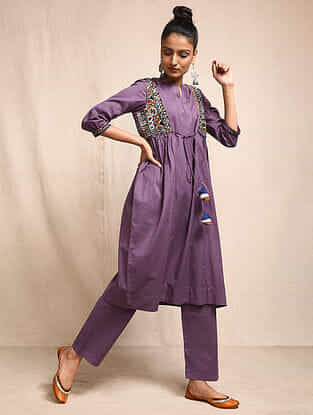 Purple Cotton Kurta with Rabari Embroidered Yoke