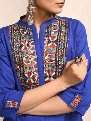 Blue Cotton Kurta with Rabari Embroidered Yoke