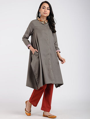 Taupe Cotton Kurta with Rabari Embroidered Yoke