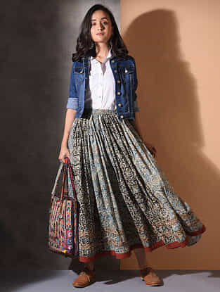Multicolor Elasticated-waist Kalamkari Cotton Skirt with Gathers