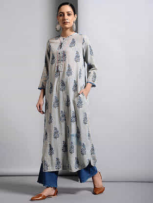 Ivory-Indigo Dabu-printed Cotton Kurta with Lace Detail
