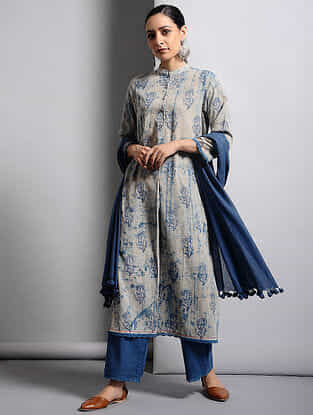 Ivory-Indigo Dabu-printed Cotton Kurta with Lace Detail