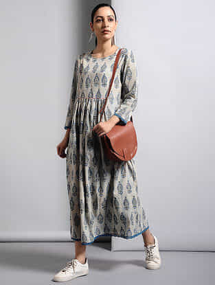 Ivory-Indigo Dabu-printed Cotton Dress with Lace Detail