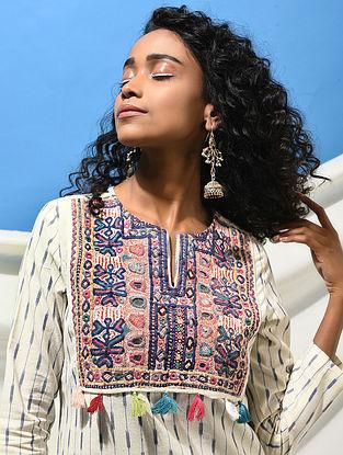 ADI KADI VAV - Ivory-Blue Handloom Ikat Cotton Kurta with Jat Embroidered Yoke with Tassels