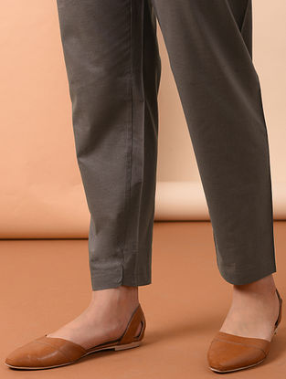 Grey Tie-up Waist Cotton Pants