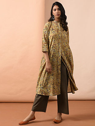 Multicolor Button-down Kalamkari-printed Cotton Kurta with Pockets