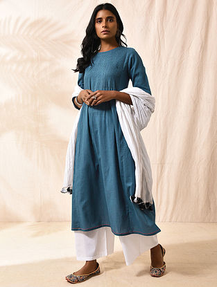 KAMAYANI - Blue Cotton Slub Kurta with Pintucks