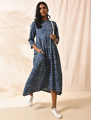 CHAURPANCHASIKA - Indigo Dabu-printed Cotton Dress