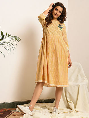 EMMA - Yellow-Ivory Handloom Bengal Cotton Dress with Embroidery