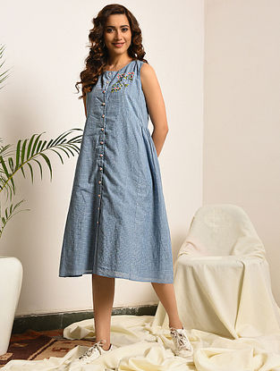 PERSUASION - Blue Handloom Bengal Cotton Dress with Embroidery