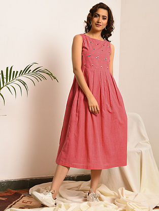 AGNES GREY - Pink Handloom Bengal Cotton Dress with Embroidery
