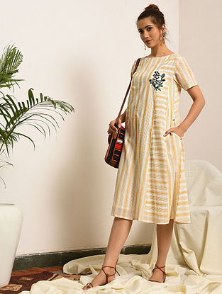 SHIRLEY - Yellow-Ivory Handloom Bengal Cotton Dress with Embroidery