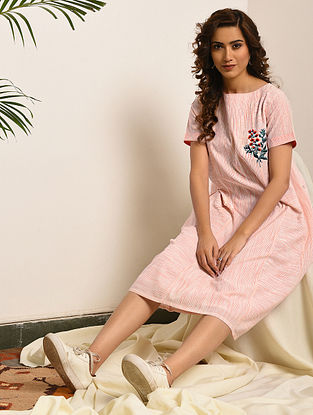CROSS CURRENTS - White-Pink Handloom Bengal Cotton Dress with Embroidery