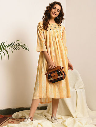 LITTLE WOMEN - Yellow-Ivory Handloom Bengal Cotton Dress with Embroidery