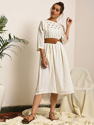 EVELINA - White Handloom Bengal Cotton Dress with Embroidery