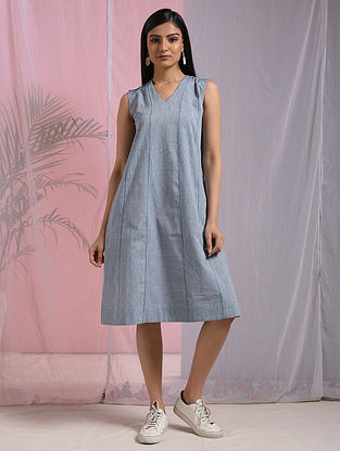 DARAM - Blue Mangalgiri Cotton Dress with Top Stitch
