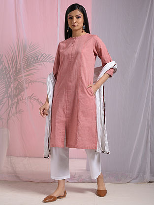 KUPPADAM - Orange Mangalgiri Cotton Dress with Pockets
