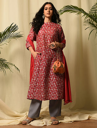DURGAWATI - Red Block Printed Silk Cotton Kurta with Gota