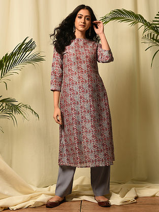 JHALKARI BAI - Pink Red Block Printed Silk Cotton Kurta with Gota