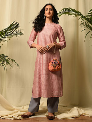 RUPAMATI - Pink Red Block Printed Silk Cotton Kurta with Gota