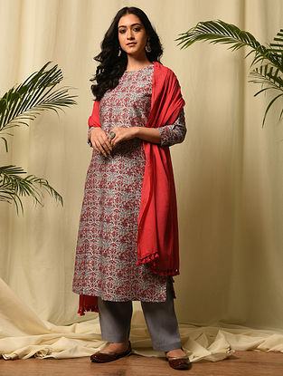 MAMOLA BAI - Pink Red Block Printed Silk Cotton Kurta
