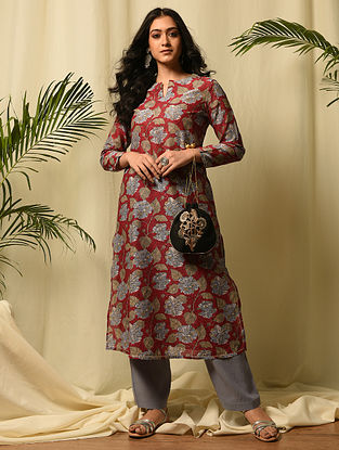 AHILYA BAI - Red Block Printed Silk Cotton Kurta with Gota