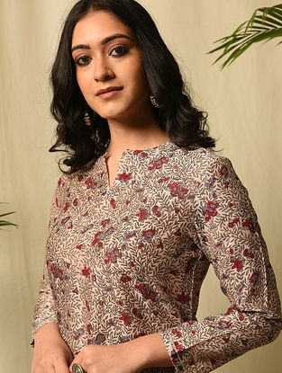 FATAH BIBI - Pink Red Block Printed Silk Cotton Kurta with Gota