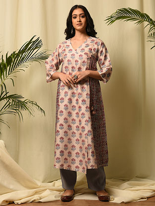 QUDSIA BEGUM - Pink Red Block Printed Silk Cotton Angrakha with Gota