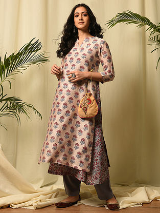 SHAHJAHAN BEGUM - Pink Red Block Printed Silk Cotton Double Layered Kurta