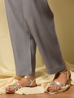 Grey Tie up Waist Modal Pants