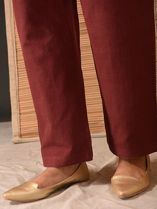 NIDA - Maroon Tie-up Waist Natural-dyed Handloom Cotton Pants