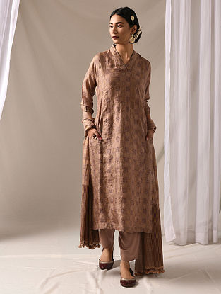 KAMYA - Beige-Maroon Block Printed Mulberry Silk Kurta with Mukaish