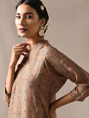 SAUDAMINI - Beige-Green Block Printed Mulberry Silk Kurta with Mukaish